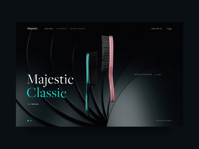 Majestic Promo Page majestic moviment microinteraction interactive slider motion web cartshop item first screen promo hair brush after effects 3dsmax cinema 4d 3d ux ui animation choice