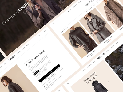 Silvashi E-commerce Pages coat bag store desktop beauty women girls clothing shop composition pages ui kit online ux ui motion after effects animation choice