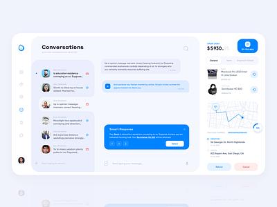 Sales Conversations Interface dialog network social social network map conversation salesforce blue shopify conversations chats sales interface concept web ux ui