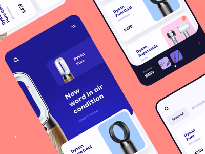 Dyson Shopping App Exploration modern device cart design ios catalog shopping good card buy dyson shop ecommerce mobile ux ui