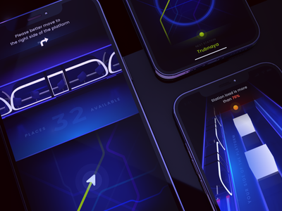 Train Station App Concept c4d subway 3d art futuristic future train station station train 3d concept mobile ux ui