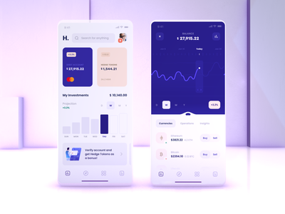 Crypto Investment Wallet interface clean minimalistic finance banking bitcoin crypto currency crypto wallet wallet cryptocurrency blockchain defi investment crypto ux ui mobile