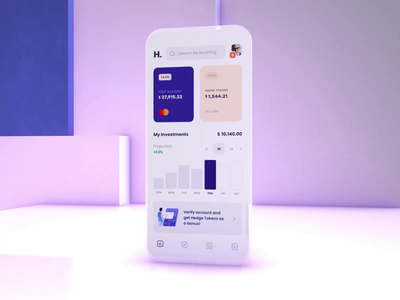 Crypto Investment Wallet - Animation exchange minimalistic bitcion blockchain crypto wallet cryptocurrency defi finances wallet app motion chart banking investment crypto wallet design animation mobile ux ui