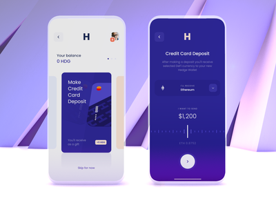 Credit Card Deposit - Crypto Banking App defi finance ethereum banking app send money deposit credit card refill exchange cards onboarding banking crypto interface mobile ux ui