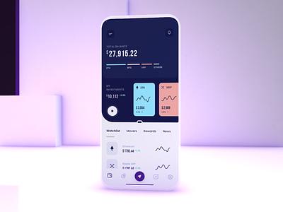 Crypto Wallet Mobile balance investment banking blockchain design bitcoin defi finance crypto wallet interface concept mobile ux ui