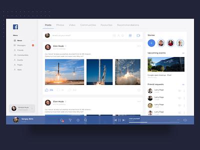 Facebook news concept - white version feed news social facebook concept web ux ui
