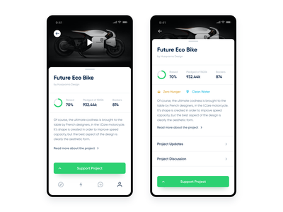 Support Project Page minimalistic project ios design kickstarter mobile ux ui