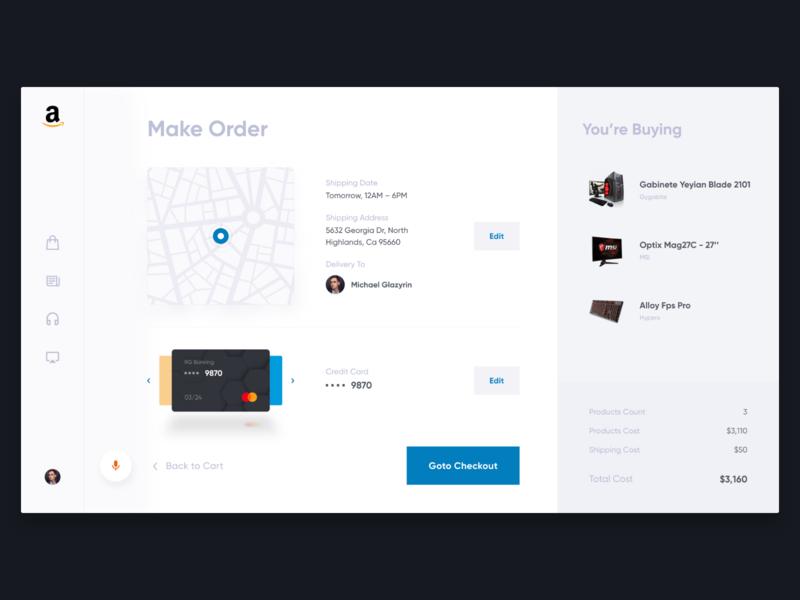 Make Order \ Checkout – Amazon Concept checkout page minimalistic clean cart order checkout amazon interface concept ux ui web