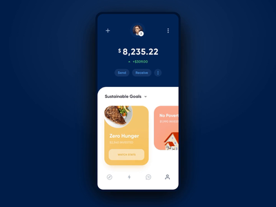 Crypto Invest App – Transactions History Animations motion interface app charts profile transactions wallet crypto animation mobile ux ui
