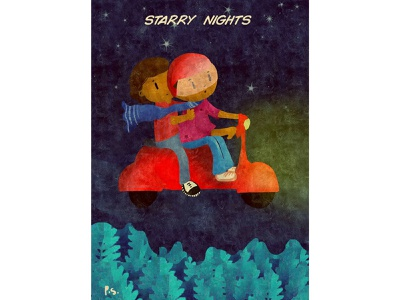 Scooter Ride With The Bride night mode starry ride starry sky night red scooter 2019 poster pattern photoshop creative color illustration
