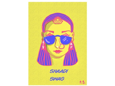 SHAADI SHOWSHA! color creative photoshop design sunglasses indian cartoon indian culture wedding illistration blue pink delhi