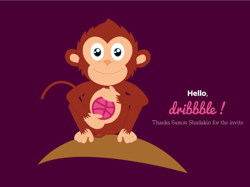 Monkey Dribbble graphic nature design art shot first logo vector mascot illustration cartoon monkey