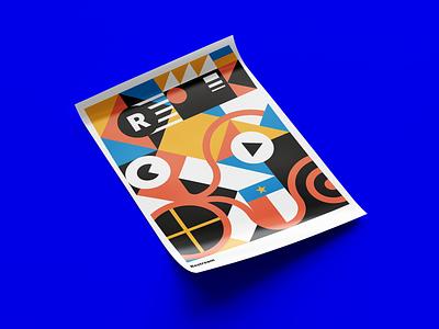 Geometric Squid Poster for Restream multistreaming streaming go live starup international global poster art squiddy squid texas ukraine illustration design geometric poster