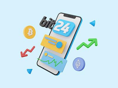Exchange platform 3D illustration c4d graphic design design icon bit24 bitcoin model phone blue exchange blender illustration 3d
