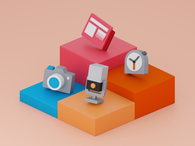 Windows icons 3D yellow orange red blue color model blender3d windows icon 3d illustration blender