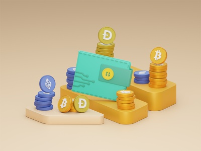 Cryptocurrency Wallet 3D Illustration binance dogecoin ethereum bitcoin orange cryptocurrency crypto wallet design illustration 3d blender