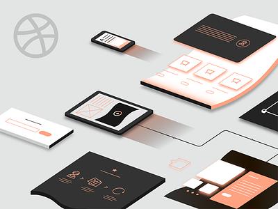 Tilda Publishing cover orange pages devices cover app website vector illustration web responsive
