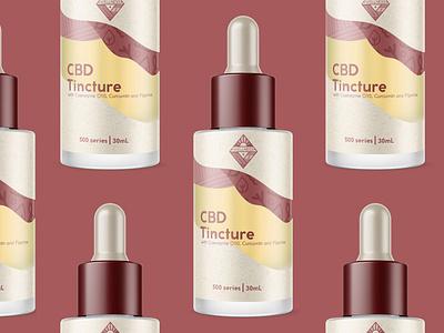 CBD Wellness Tincture Bottle Concept mountains nature red texture diecut pattern branding logo wellness vitamin vector cbd packaging cbdoil cbd bottle design bottle
