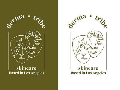 Local Skincare Logo Concept organic green leaf leaves face concept art illustration concept beauty logo beauty skincare tribe derma city losangeles local