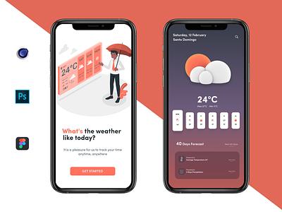 Mobile Weather App Concept typography illustration design app app clean ux ui figma procreate productdesign photoshop dribbbleweeklywarmup