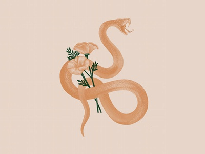 Snake Illustration tablet wacom cintiq wacom snakes illustrations illustrators cream peach snake and flower snake plant floral monocromatic photoshop brush brushes illustrator photoshop adobe illustration flower snake