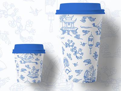 Moores Tea To-Go Cups chinaplates chinaporcelain porcelain blueandwhite adobeillustator mockup illustration design packaging design illustrator container drink togo cups package design tea china packaging