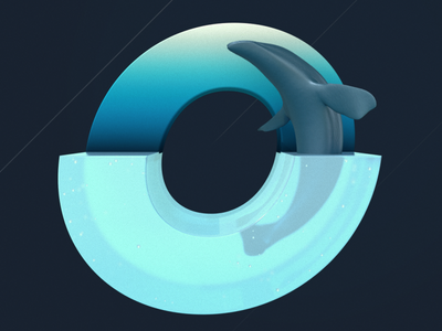 O is for Ocean 36daysoftype o whale blue ocean design illustration c4dtoa cinema4d c4d 3d