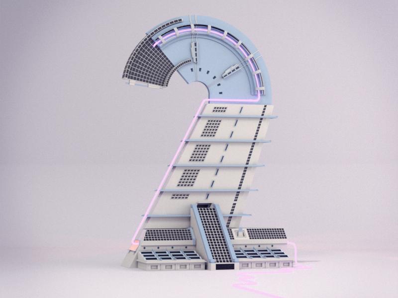 36 Days of Type - Number 2 lettering illustration design c4dtoa cinema4d c4d building architecture 3d 36daysoftype 2