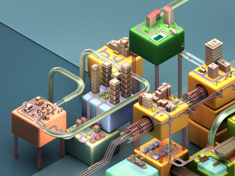 City of Cubes geometry buildings trains pipes book cover isometric c4dtoa city cubes c4d