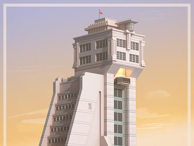 Creator Tower futurism illustration render cinema 4d c4d elevator purple haze sunlight low poly vr tower 3d