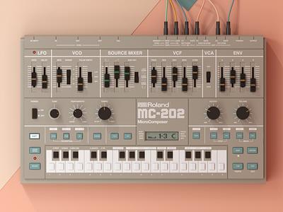 Roland MC 202 c4d cinema4d illustration mc202 roland render 3d