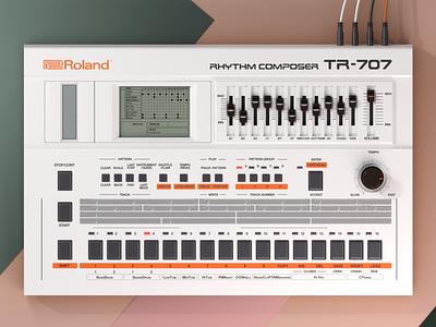 Roland TR-707 techno electro retro vintage render tr 707 drum machine roland illustration cinema4d c4d 3d