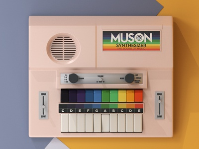 Muson Toy Synthesizer - The Sound of Music music muson 70s retro render synthesizer toy vintage illustration cinema4d c4d 3d