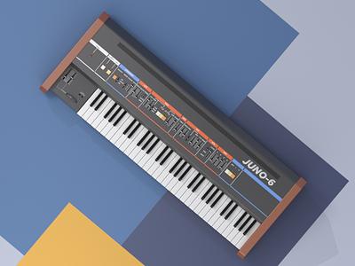Roland Juno-6 audio music retro vintage cinema 4d c4d juno roland synthesizer illustration render 3d
