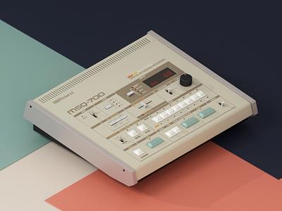 Roland MSQ-700 techno electro retro vintage render msq-700 sequencer roland illustration cinema4d c4d 3d