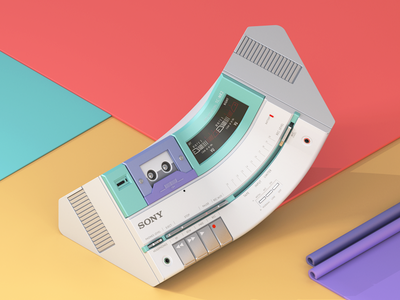 Sony TC-MR2 Stereo MicroCassette Deck - Twisted 80s Edition 80s stereo retro vintage render cassette tape sony illustration cinema4d c4d 3d