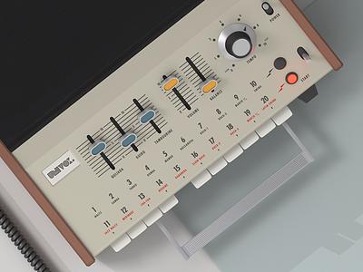 Univox SR-95 70s retro vintage render mini pops 7 korg univox drum machine illustration cinema4d c4d 3d