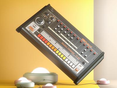 Roland TR-808 80s retro vintage render cinema 4d illustration 3d synthesizer drum machine 808 tr808 roland