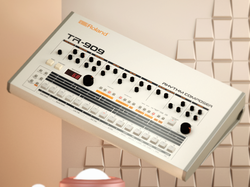 Roland TR-909 house techno roland retro render illustration pastel drum machine cinena 4d 80s 909 3d