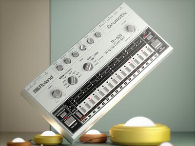 Roland TR-606 hiphop vintage roland retro render illustration drum machine cinema 4d 606 80s 3d