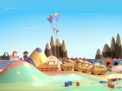 Colorful Playground Birth Announcement trains hills render 3d playful playground colorful wood train c4d cinema 4d