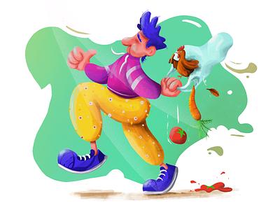 Shopping vegetables chicken digital art funny procreate digital painting character illustration