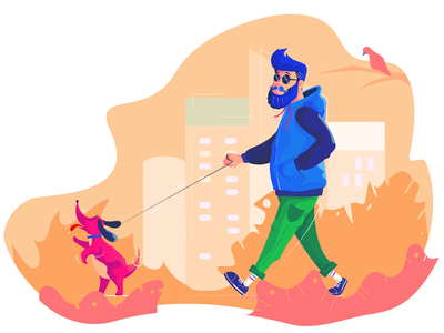 Quarantine walk park vector graphic  design character dog illustration