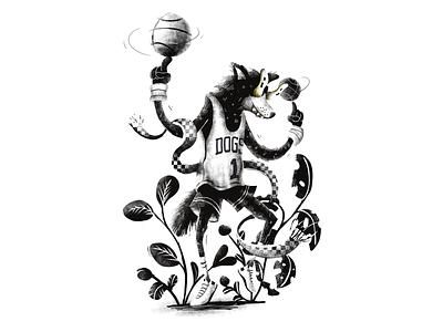 NBA Superstar ball sports basketball animal dog digital illustration