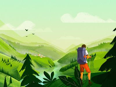 Landscape study summer nature illustration hiking grass green landscape
