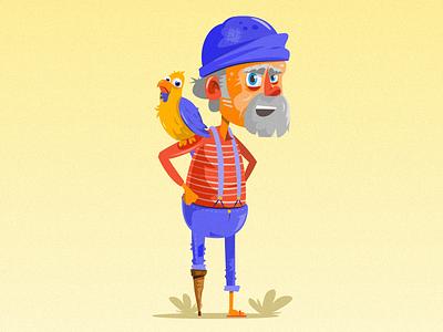 Retired fisherman funny grandpa old sea dockworker dock bird fisherman digital art vector graphic  design character illustration