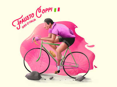 Fausto Coppi digital art graphic  design procreate digital painting cycling character illustration