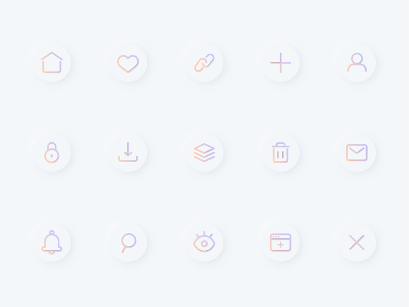 Neu UI Icons soft login download search mail home profile clean design simple design neumorphic mobile icons ui design gradient icon icon set color gradient neumorphism vector ui icon