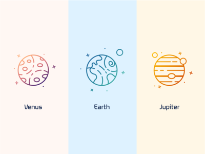 Venus, Earth & Jupiter gradient color icon design icon gradient planet earth space icons solar system galaxy moons moon stars star earth planets icon set space illustration vector icon