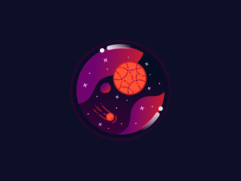 Space in a Bubble mercury galaxy magic orb bubble space stars meteor shooting star planet icon vector illustration